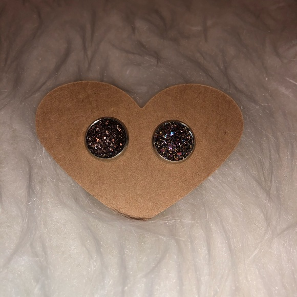 Jewelry - Copper Red Druzy Stud Earrings